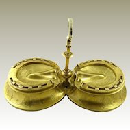 Antique English Brass Inkwell Horse's Hoof Shoes Victorian Era