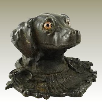 Antique Ink Well Figural Dog / with Pen Tray / Cast Iron Glass Eyes / Retriever Sporting Dog / English Circa 1875 / Victorian Desk Accessory