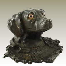 Antique Ink Well in form of Dog / with Pen Tray / Cast Iron Glass Eyes / Retriever Sporting Dog / English Circa 1875 / Victorian Desk Accessory