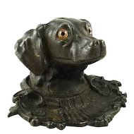 Antique Inkwell or Inkpot in form of Dog / with Pen Tray / Cast Iron Glass Eyes / Retriever Sporting Dog / English Circa 1875 / Victorian Desk Accessory