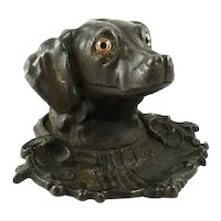 Antique Dog Novelty Inkwell with Glass Eyes & Pen Tray Victorian C 1875