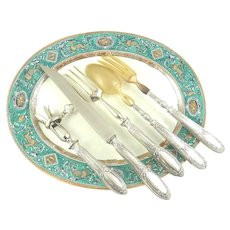 Antique French Sterling Silver Five Piece Serving or Implement Set with Carving Knife & Bone Holder
