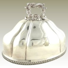 Antique English Silver Plate Meat Dome Armorial