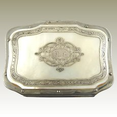 Antique French Silver & Mother of Pearl  Change Coin Purse Necessaire