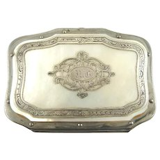 Antique French Silver Change Coin Purse Necessaire with Mother of Pearl