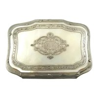 Antique French Silver & Mother of Pearl Change Coin Purse, Necessaire