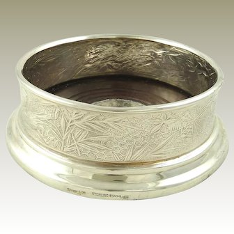 Tiffany Sterling Silver Wine Bottle Coaster or Holder  Aesthetic Movement with Spider Webs, Birds, and Flowers