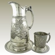 Antique James Tufts Quadruple Silverplate Water Pitcher Tray & Cup Art Nouveau