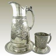 Antique James Tufts Quadruple Silverplate Water Pitcher Tray & Cup Art Nouveau