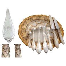 Antique French Sterling Silver & Mother of Pearl Flatware Set 130 Pieces Including Fish Service & Oyster Forks