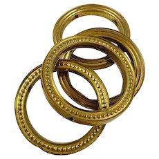 Antique French Gilt Brass Tiebacks Rings for Curtains Drapery Hardware Window Decor Set of Four