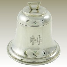 "Antique English Sterling Silver Inkwell Ink Pot Shaped as Bell  /  Monogrammed  ""ECH""/ Edwardian Era / Hallmarked 1909"