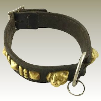 Antique Leather & Brass Dog Collar with Brass Studs and Brass Dog Heads / Pugs or French Bulldog / Late 19th C