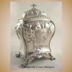Antique Sterling Silver Tea Caddy~George III~Rococo with Crest