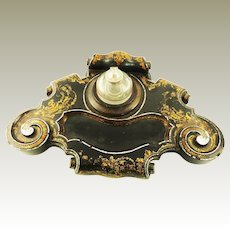 Large Victorian Ink Stand Ink Well with Pen Tray Mother of Pearl c 1870