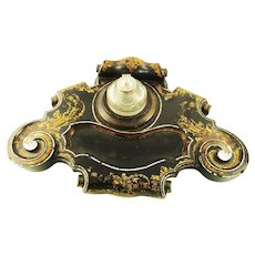 Large Victorian Ink Stand Inkwell/ Inkpot with Pen Tray Mother of Pearl c 1870