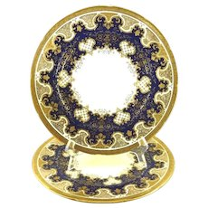 Antique Pair of Coalport Plates Cobalt Blue with Raised Gold Work Cabinet Plate