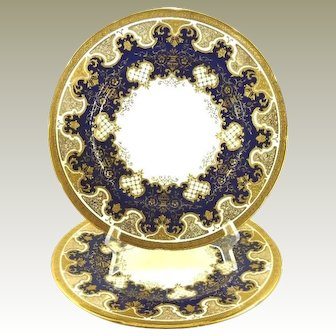 Antique Pair of Coalport Plates Cobalt Blue with Raised Gold Work Cabinet Plate