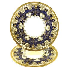 Coalport Porcelain Plates Cobalt Blue Raised Gilt Work Set of Two 10 1/2""