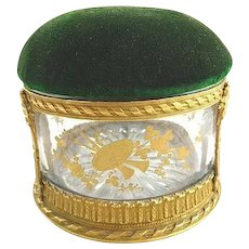 Antique French Crystal Glass Box Bronze Dore Pin Cushion Velvet Lid Hand Painted Gilt Details