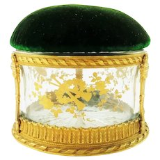 Antique French Crystal Box with Bronze Dore Trim, Hand Painted Gilt Details