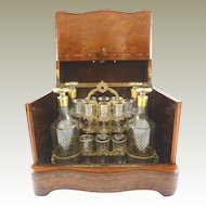 Superb Antique French Cave a Liqueur / Tantalus Liquor Box / Burl Wood Inlay / Four Decanters & Fourteen Glasses