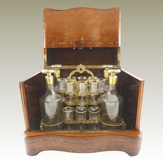 Superb Antique French Cave a Liqueur / Tantalus Liquor Box / Burl Wood Inlay / Four Decanters & Sixteen Glasses Hand Painted with Gilt Stars