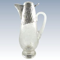 Antique French Sterling Silver & Crystal Serving Decanter or Pitcher / Wine Claret Jug
