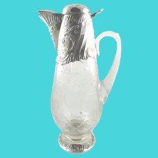 Antique French Sterling Silver & Crystal Decanter,  Wine Claret Jug,  Exceptional Design C 1895 Paris