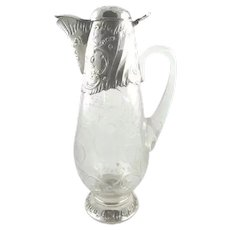 Antique French Sterling Silver & Crystal Decanter,  Wine Claret Jug,  Exceptional Design C 1895 Paris