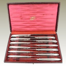 French Puiforcat Sterling Silver Dinner Knives Set of 12 with Presentation Case
