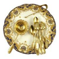 Antique French Sterling Silver & Vermeil Tea Service 14 Pieces 12 Spoons Tongs  Strainer Henri Soufflet