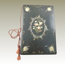 Antique Victorian Era  Papier Mache Blotter, Folio with Floral Design MOP & Abalone
