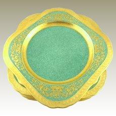 Royal Worcester Encrusted Gilt Square Plates  Set of 8 Salad/Dessert Plates