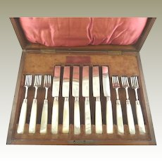 Antique English Sterling Silver & Mother Of Pearl Dessert Service Georgian C. 1825