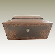 Antique English Regency I Rosewood Box Mother of Pearl Brass Stringing C. 1830