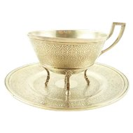 Antique French Sterling Silver Cup & Saucer Coffee or Chocolate by Piault of Paris 346 Grams