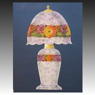 Vintage 20s French ART DECO Original Watercolor Painting for a Lamp FABULOUS!