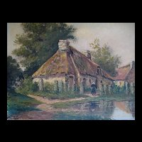 Antique Late 19th C Century LARGE French Oil Painting Brittany FARM SCENE Signed FABULOUS!