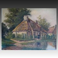 Antique Late 19th C Century LARGE French Oil Painting Brittany FARM SCENE Celtic Alignment Signed FABULOUS!