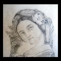 Antique English Drawing Aristocratic Lady Portrait19th C Century Signed FABULOUS!