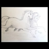 Vintage French Art Deco Drawing HORSES 20s Small DELIGHTFUL!
