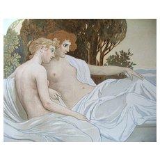 Antique 19th C GERMAN Austrian Art NOUVEAU ROSSLER  Litho Print NUDE Ladies in Landscape WOW!