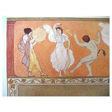 Antique German Art NOUVEAU Print Lithograph 19th C Century COLOMBO Greek Dance Signed WOW