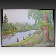 Vintage 1930s Large English Watercolor Painting MEN FiSHING in River STUNNING!