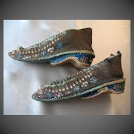 Antique 19th C Century Chinese QING Embroidered Bound Feet Lotus Shoes 5.5 Inches RARE!