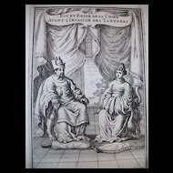 Antique 17th C Century Engraving Print Chinese Portraits The KING & QUEEN of China RARE!