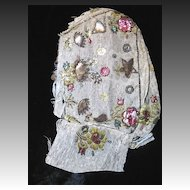 Antique 18th Century Embroidered Woman Half Bonnet METALLIC Emfroidery EXTRAORDINARY!