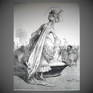 Antique 19th C Century FRENCH Print Lady DIPLOMACY Feeding Foreign CATS Signed FANTASTIC!