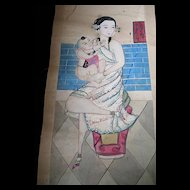 Antique CHINESE Qing Painting Woman With Bound Feet Child 19th C Century Scroll VERY RARE!